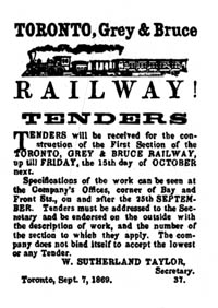 Advertisement for Tenders for narrow gauge Toronto, Grey and Bruce Railway of Ontario Canada