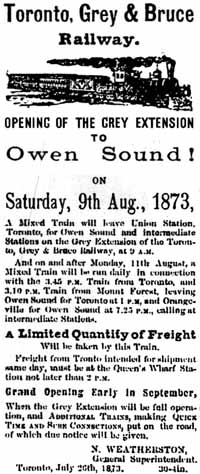 Advertisement for Opening Day to Owen Sound on the narrow gauge Toronto, Grey and Bruce Railway of Ontario, Canada