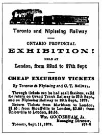 Advertisement for Excursion Tickets for narrow gauge Toronto and Nipissing Railway of Ontario Canada