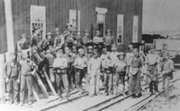Picture of Workmen at the Uxbridge Car Shops for narrow gauge Toronto and Nipissing Railway of Ontario Canada