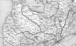 "Sample map from the book Narrow Gauge Through the Bush of the Locomotive #1 ""Gordon"" by Avonside of the Toronto, Grey and Bruce Railway in Ontario Canada"
